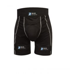 Blue Sports Compression Jock Pro Shorts With Cup and Velcro Senior Защита паха